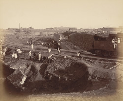 View of incline and north wall of south jetty [Victoria Dock construction, Bombay].